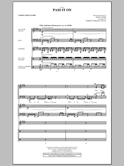 Robert Sterling Pass It On - Score sheet music notes and chords. Download Printable PDF.