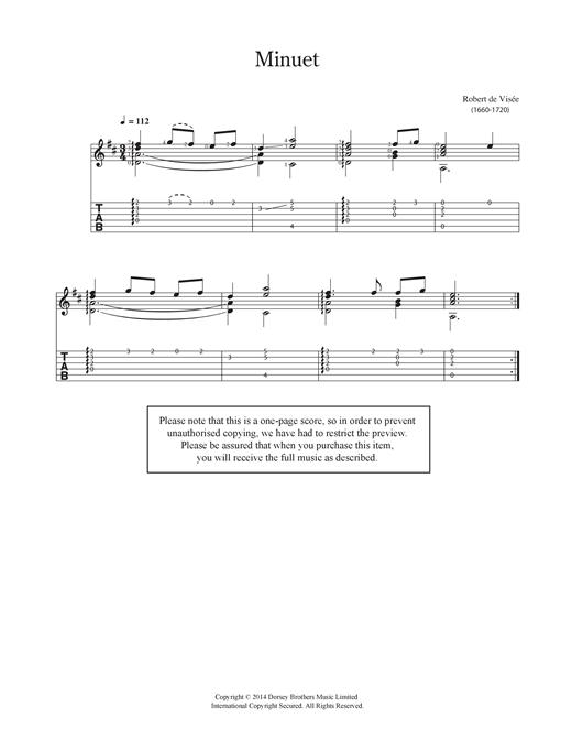 Robert Visee Minuet sheet music notes and chords. Download Printable PDF.