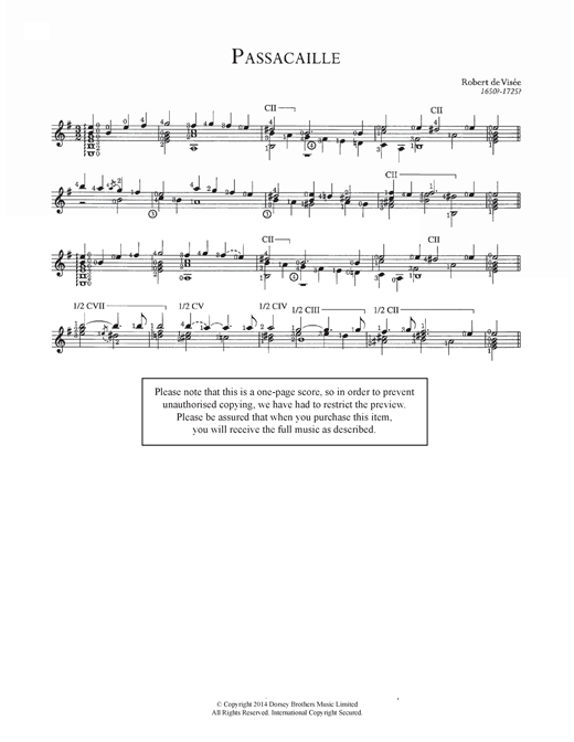 Robert Visee Passacaille sheet music notes and chords. Download Printable PDF.