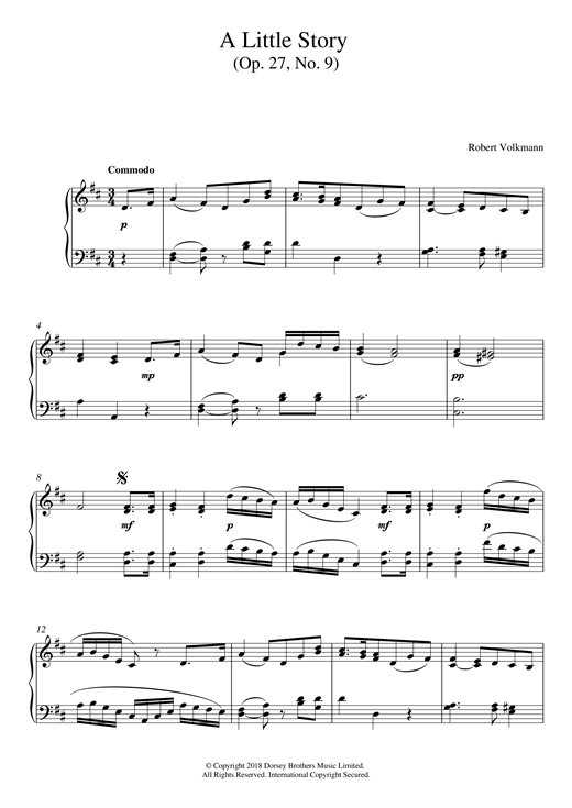 Robert Volkmann A Little Story Op. 27, No. 9 sheet music notes and chords. Download Printable PDF.