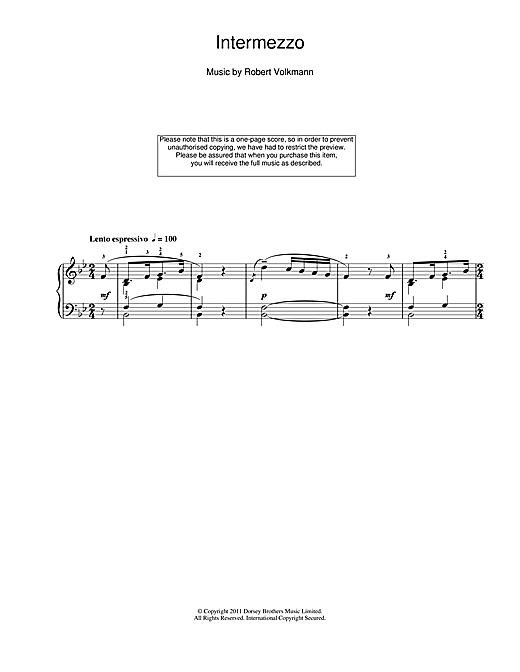 Robert Volkmann Intermezzo sheet music notes and chords. Download Printable PDF.