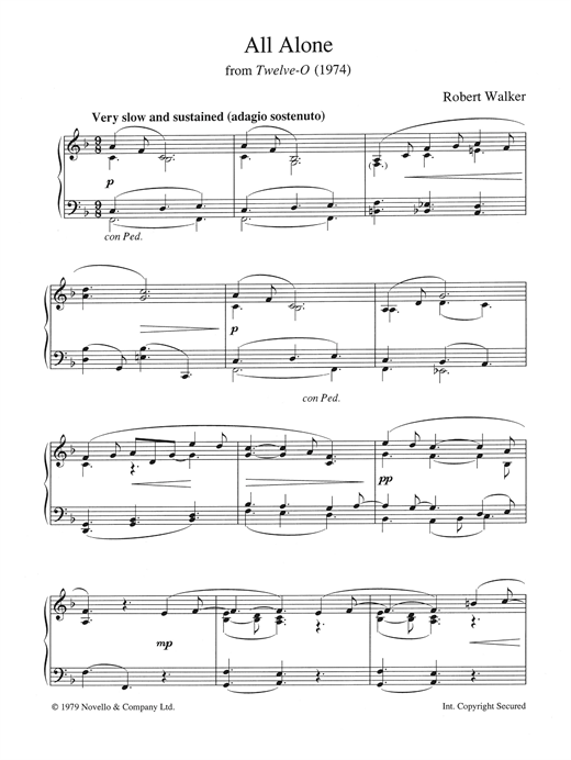 Robert Walker All Alone (from Twelve-O) sheet music notes and chords