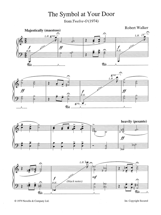 Robert Walker The Symbol At Your Door (from Twelve-O) sheet music notes and chords. Download Printable PDF.