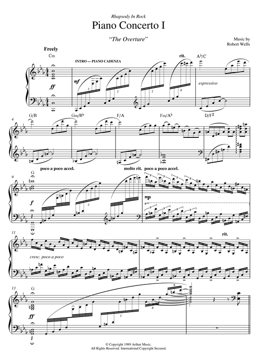 Robert Wells Piano Concerto: I. The Overture sheet music notes and chords