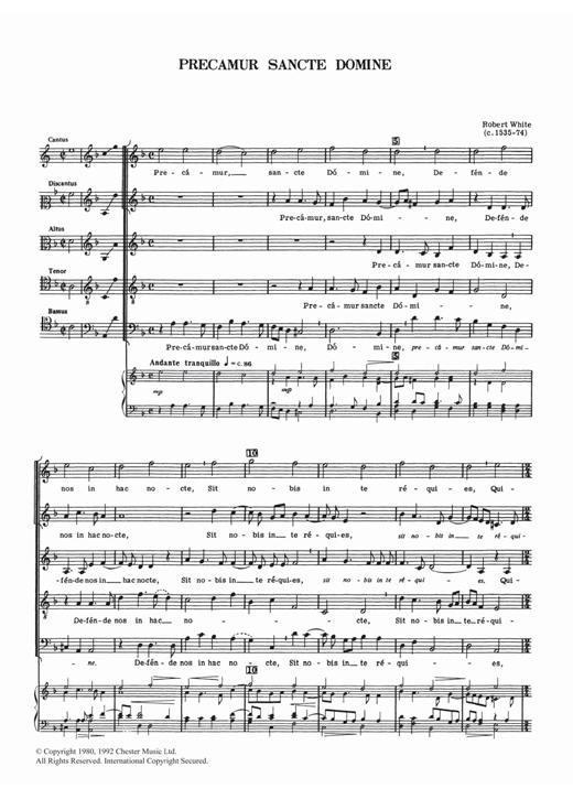 Robert White Precamur Sancte Domine sheet music notes and chords. Download Printable PDF.