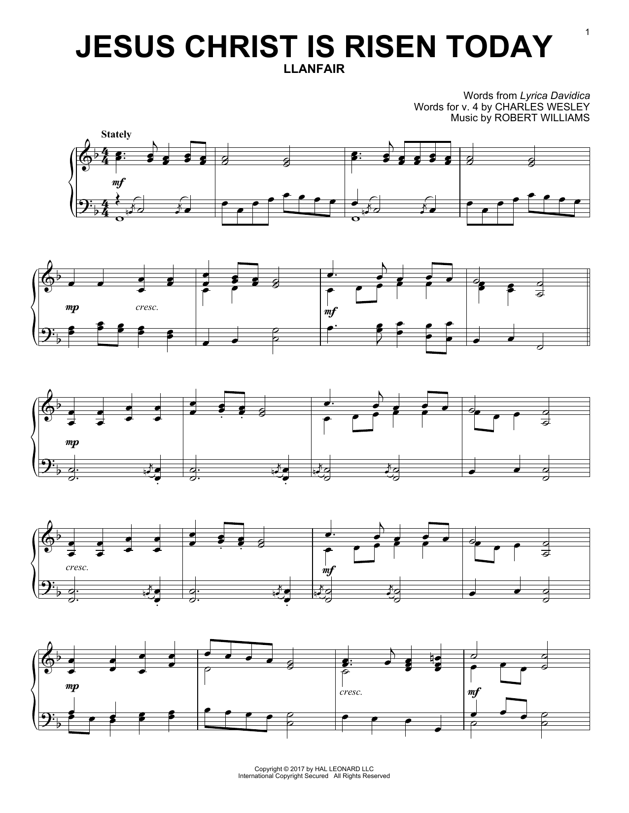 Robert Williams Jesus Christ Is Risen Today sheet music notes and chords. Download Printable PDF.