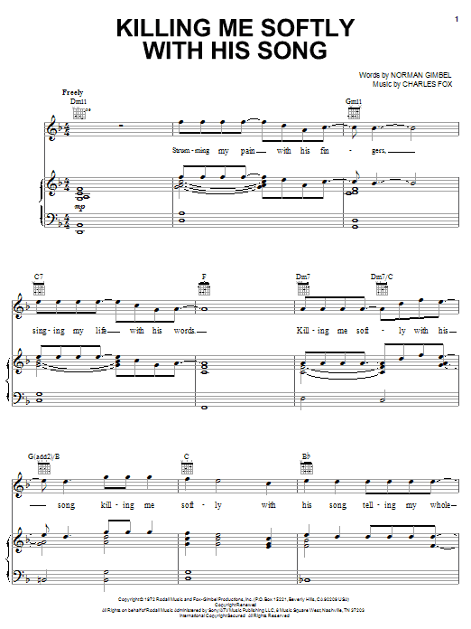 Roberta Flack Killing Me Softly With His Song sheet music notes and chords. Download Printable PDF.