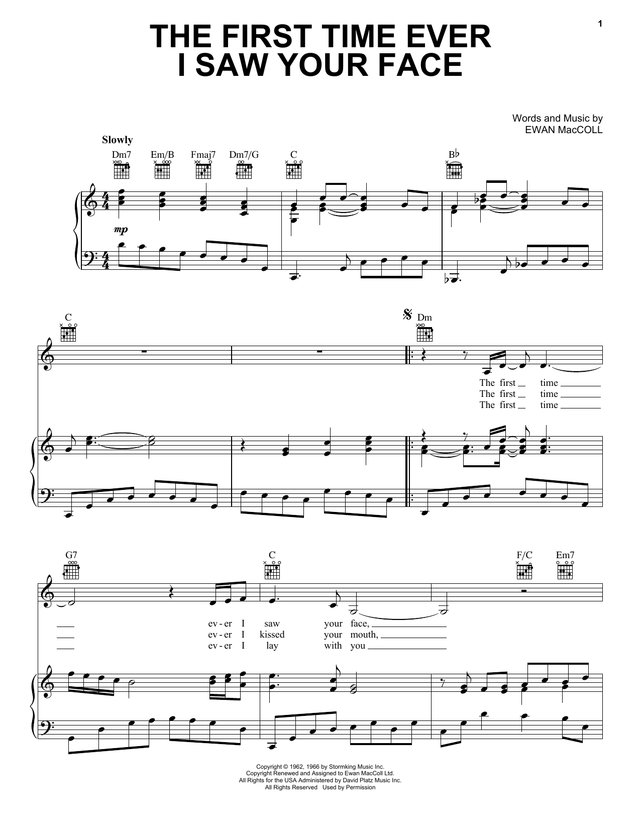 Roberta Flack The First Time Ever I Saw Your Face sheet music notes and chords. Download Printable PDF.