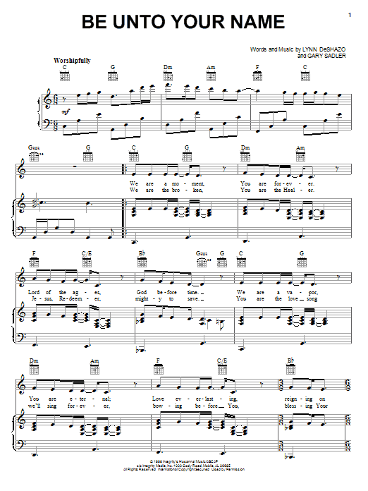 Robin Mark Be Unto Your Name sheet music notes and chords. Download Printable PDF.