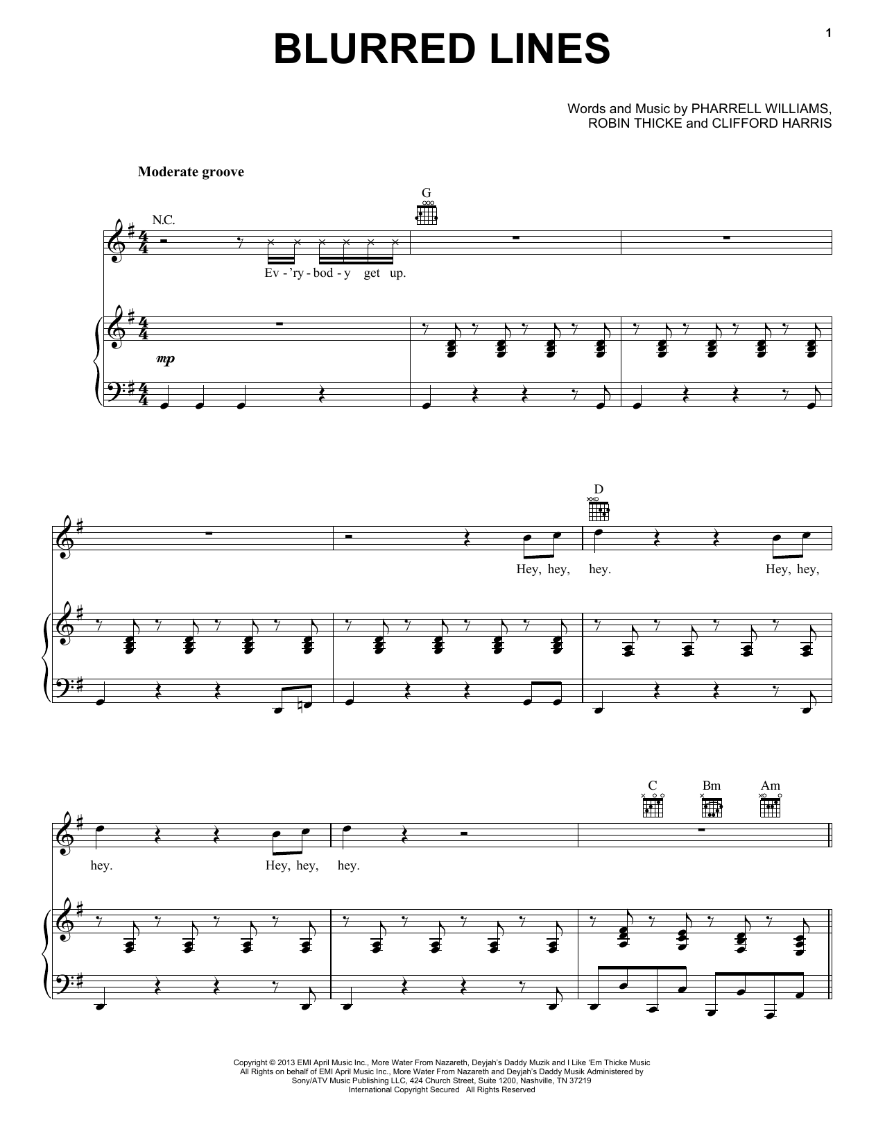 Robin Thicke Blurred Lines sheet music notes and chords. Download Printable PDF.