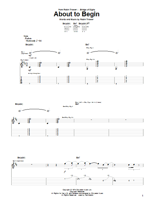Robin Trower About To Begin sheet music notes and chords. Download Printable PDF.