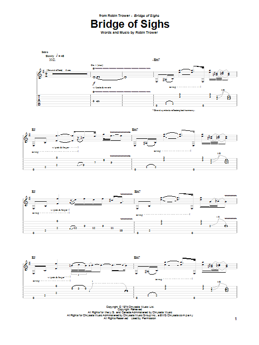 Robin Trower Bridge Of Sighs sheet music notes and chords. Download Printable PDF.