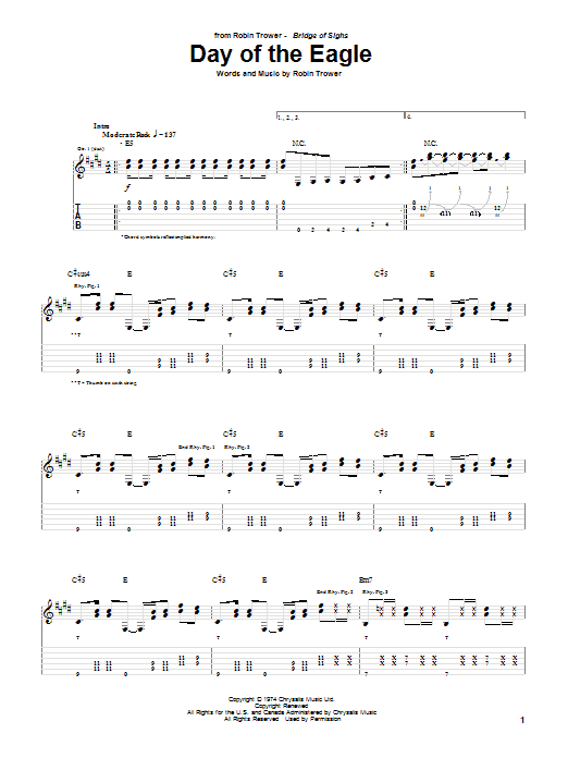 Robin Trower Day Of The Eagle sheet music notes and chords. Download Printable PDF.