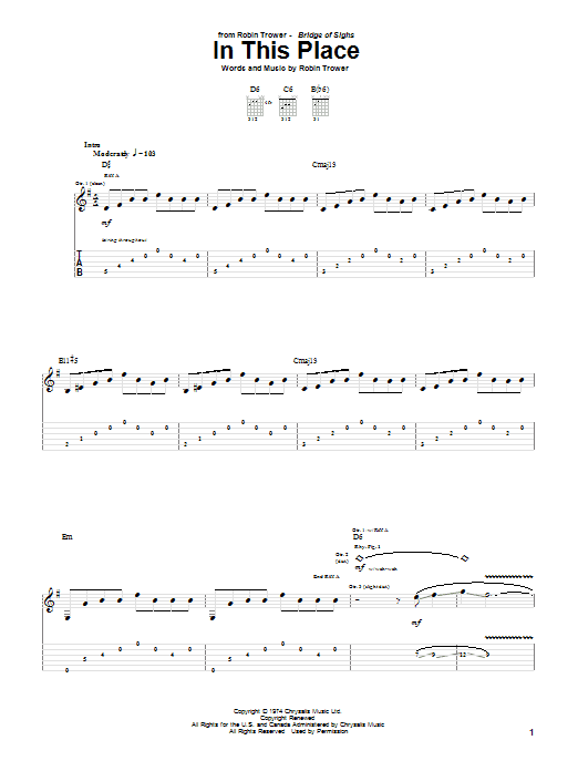 Robin Trower In This Place sheet music notes and chords. Download Printable PDF.