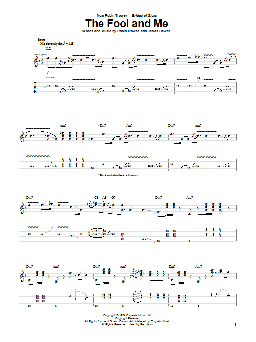 Robin Trower The Fool And Me sheet music notes and chords. Download Printable PDF.