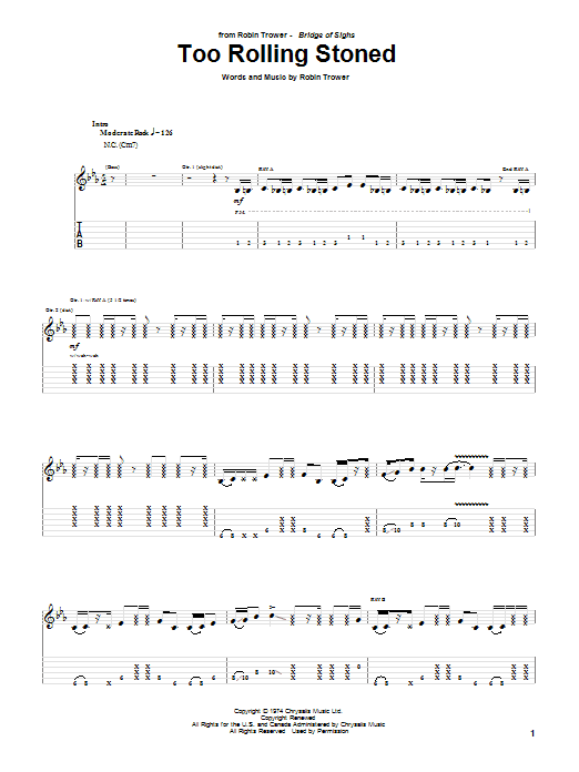 Robin Trower Too Rolling Stoned sheet music notes and chords. Download Printable PDF.