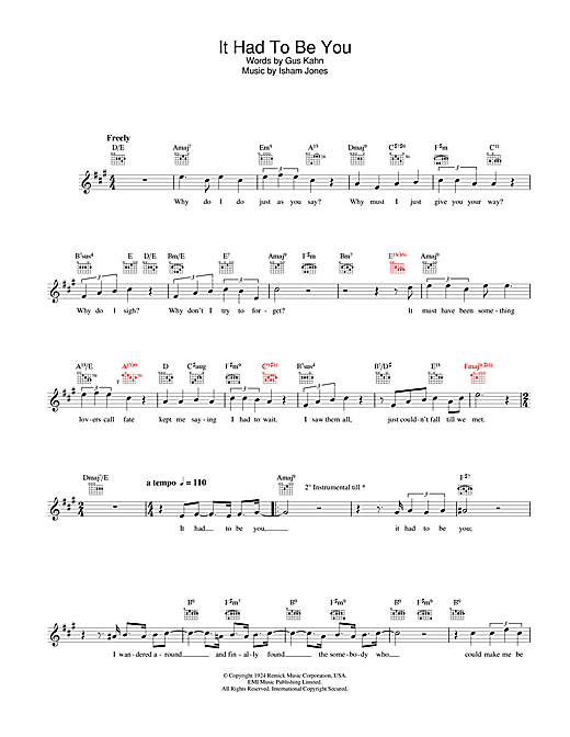 Rod Stewart It Had To Be You sheet music notes and chords. Download Printable PDF.