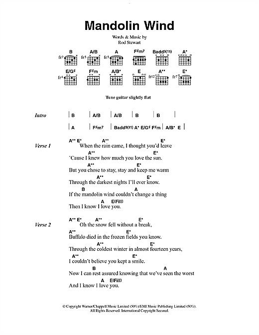 Rod Stewart Mandolin Wind sheet music notes and chords. Download Printable PDF.