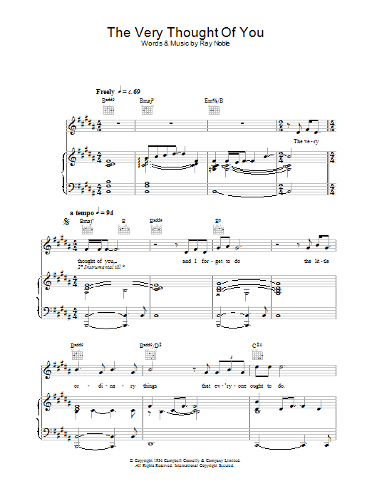 Rod Stewart The Very Thought Of You sheet music notes and chords. Download Printable PDF.