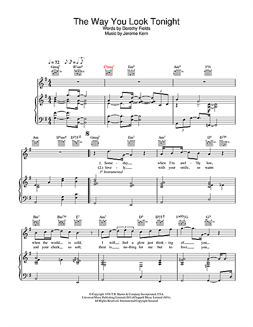 Rod Stewart The Way You Look Tonight sheet music notes and chords. Download Printable PDF.