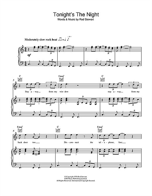 Rod Stewart Tonight's The Night (Gonna Be Alright) sheet music notes and chords. Download Printable PDF.