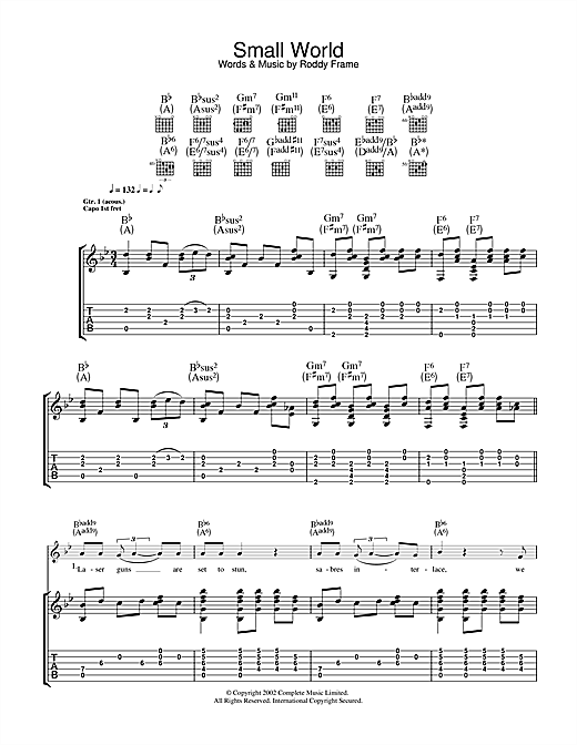 Roddy Frame Small World sheet music notes and chords. Download Printable PDF.