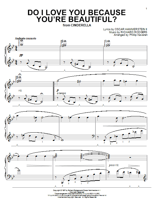 Rodgers & Hammerstein Do I Love You Because You're Beautiful? (arr. Phillip Keveren) sheet music notes and chords. Download Printable PDF.