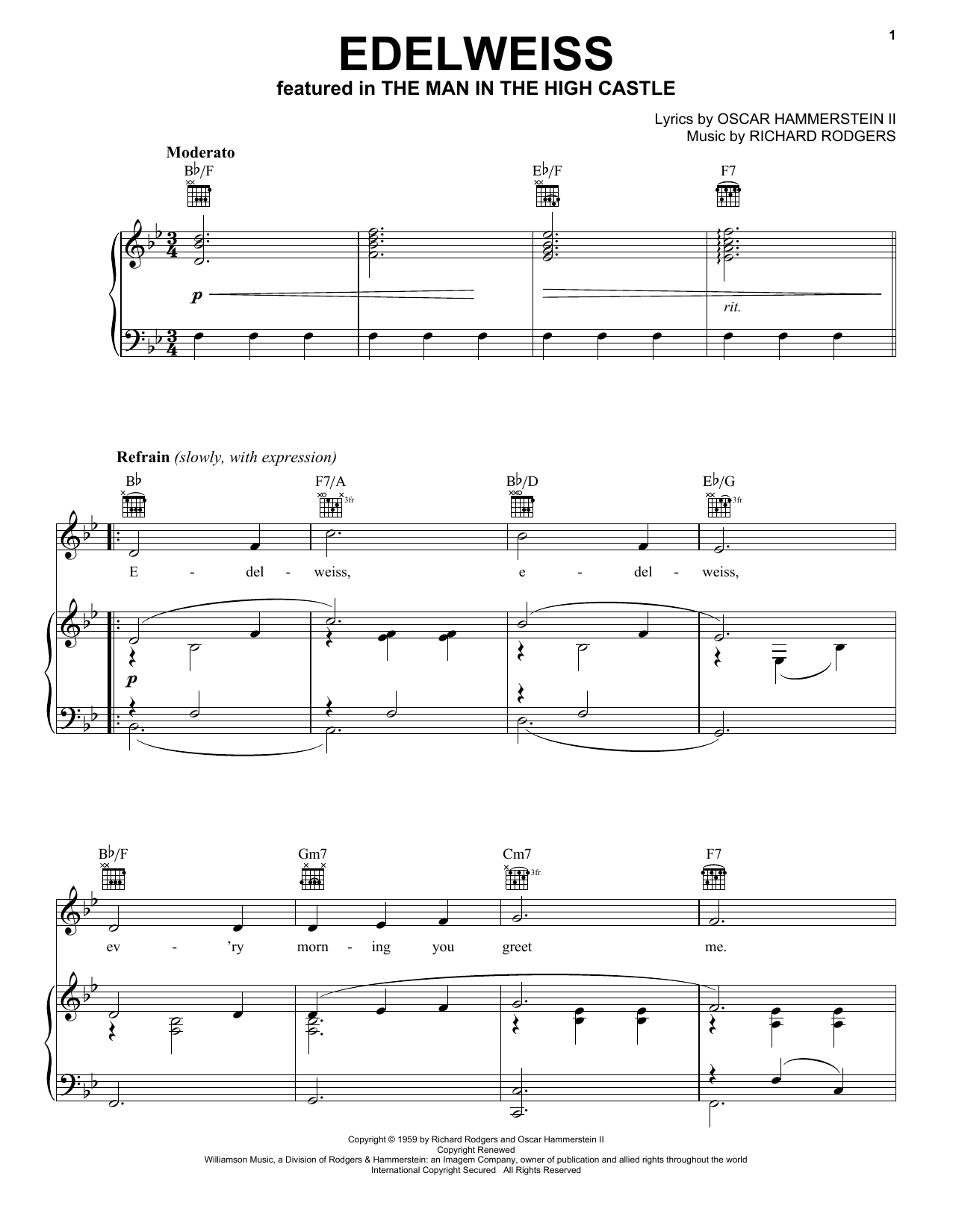 Rodgers & Hammerstein Edelweiss sheet music notes and chords. Download Printable PDF.