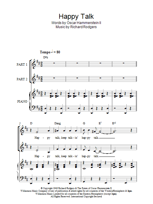 Rodgers & Hammerstein Happy Talk (from South Pacific) sheet music notes and chords. Download Printable PDF.