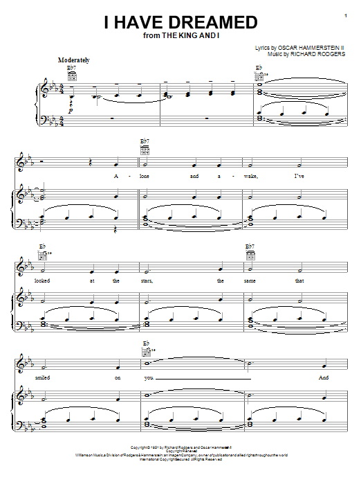 Rodgers & Hammerstein I Have Dreamed sheet music notes and chords. Download Printable PDF.