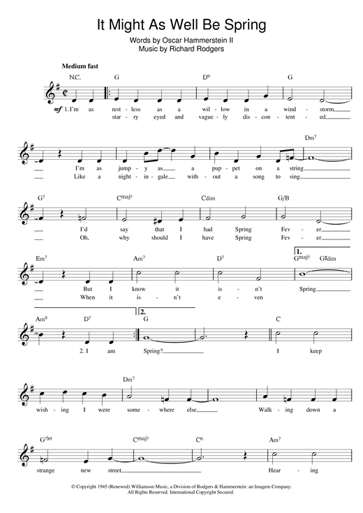 Rodgers & Hammerstein It Might As Well Be Spring (from State Fair) sheet music notes and chords