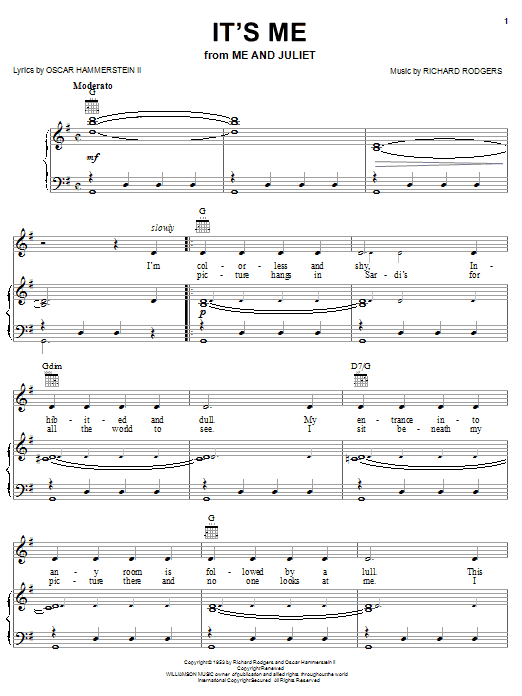 Rodgers & Hammerstein It's Me sheet music notes and chords. Download Printable PDF.
