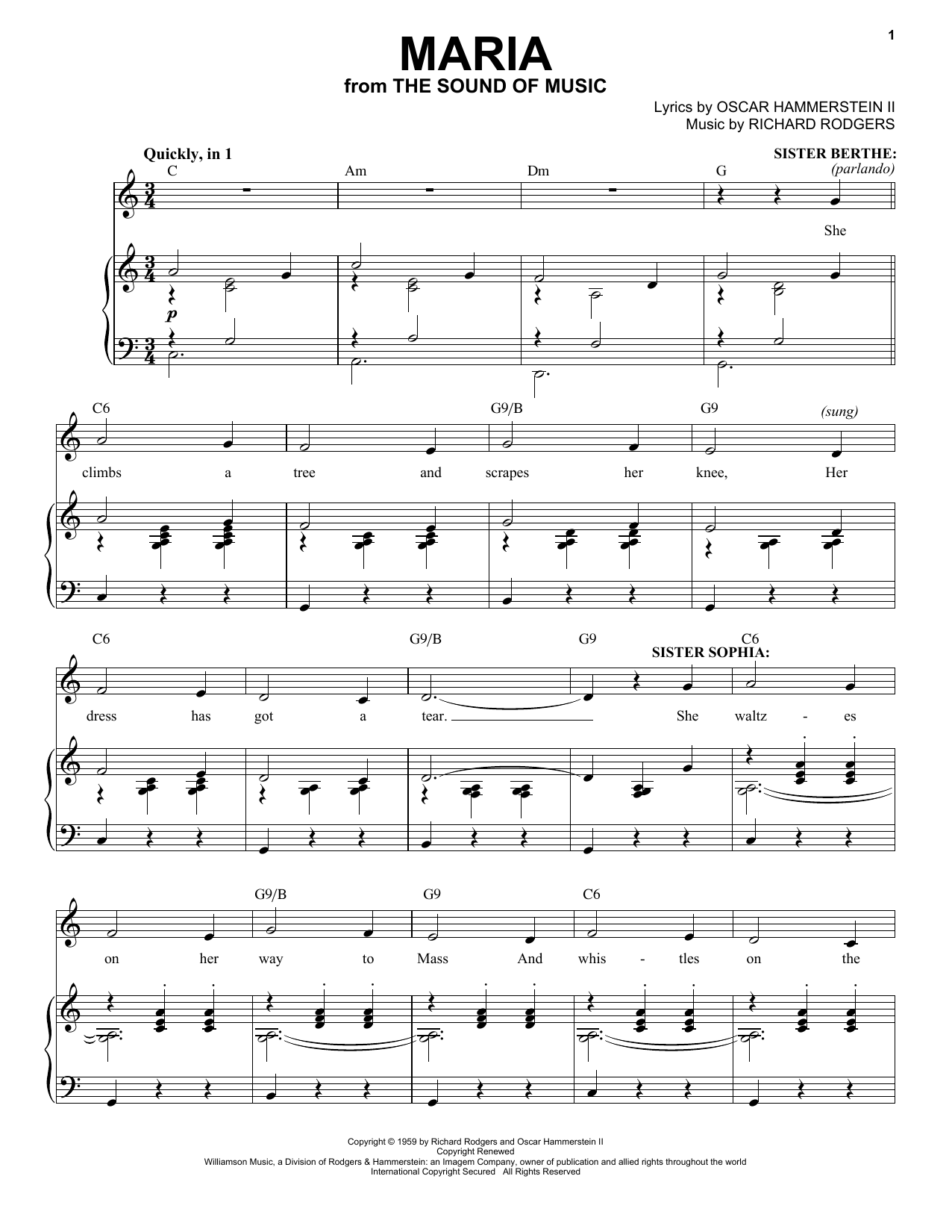Rodgers & Hammerstein Maria sheet music notes and chords. Download Printable PDF.