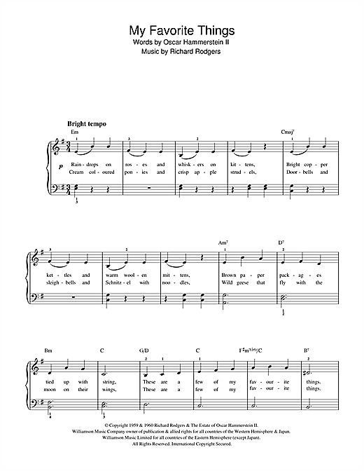 Rodgers & Hammerstein My Favorite Things (from The Sound Of Music) sheet music notes and chords. Download Printable PDF.