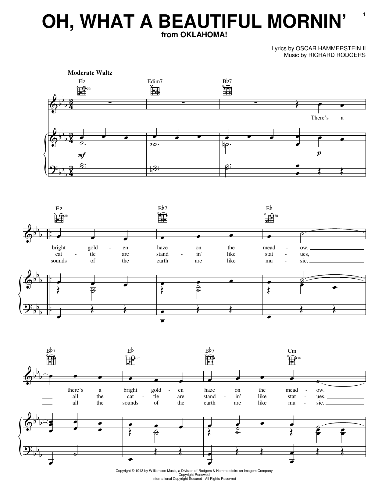 Rodgers & Hammerstein Oh, What A Beautiful Mornin' (from Oklahoma!) sheet music notes and chords