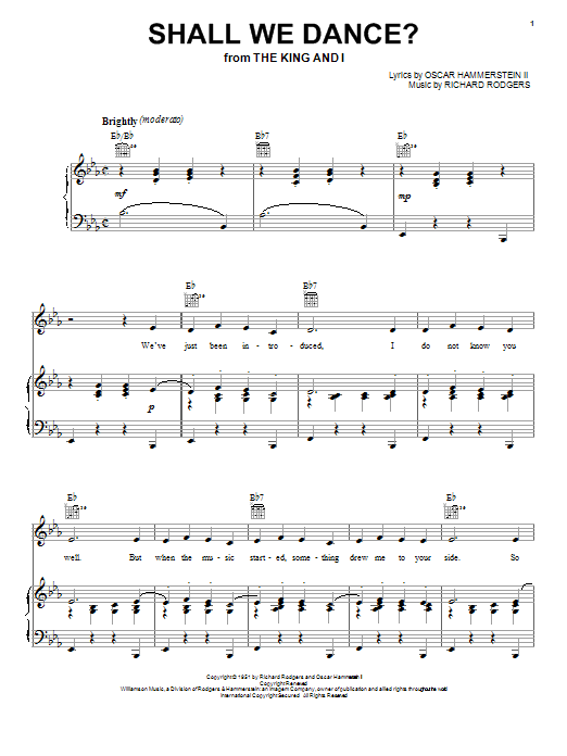 Rodgers & Hammerstein Shall We Dance? sheet music notes and chords. Download Printable PDF.