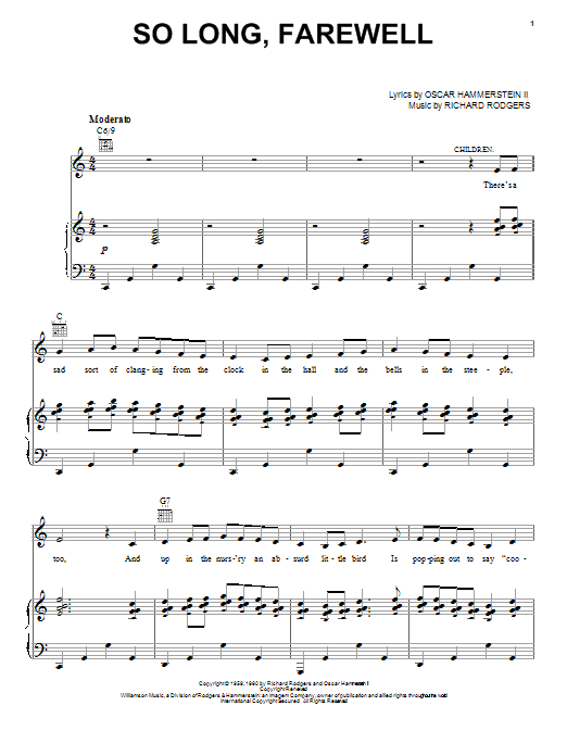 Rodgers & Hammerstein So Long, Farewell sheet music notes and chords. Download Printable PDF.