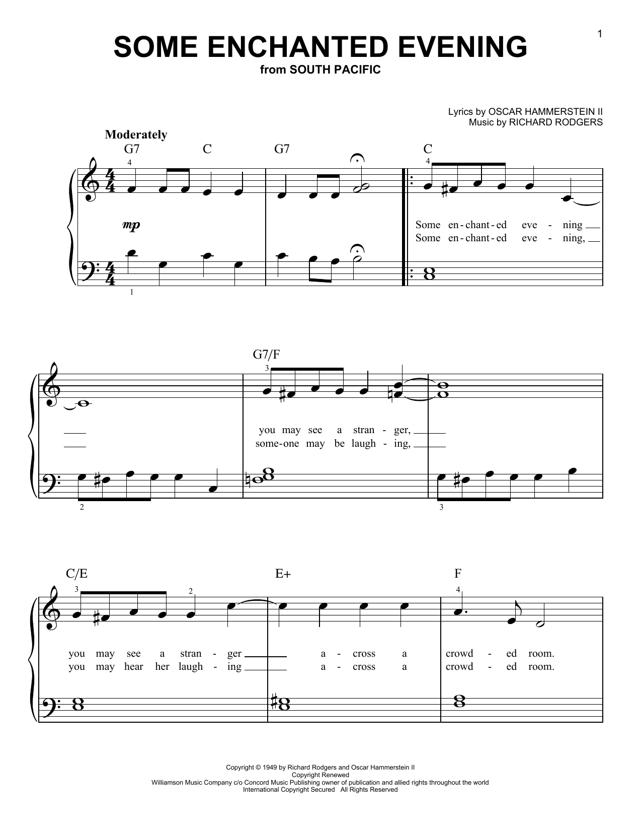 Rodgers & Hammerstein Some Enchanted Evening sheet music notes and chords. Download Printable PDF.