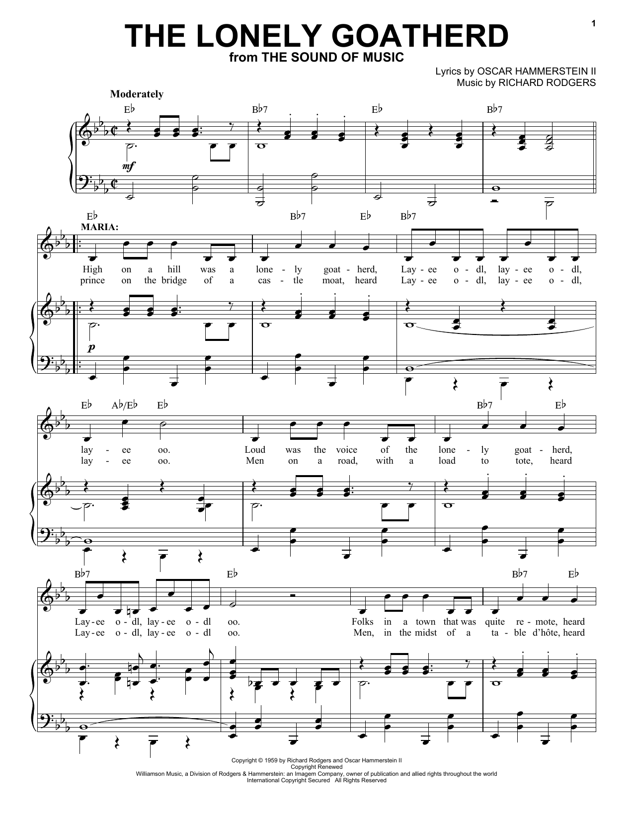 Rodgers & Hammerstein The Lonely Goatherd (from The Sound of Music) sheet music notes and chords