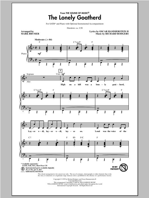 Rodgers & Hammerstein The Lonely Goatherd (from The Sound of Music) (arr. Mark Brymer) sheet music notes and chords. Download Printable PDF.