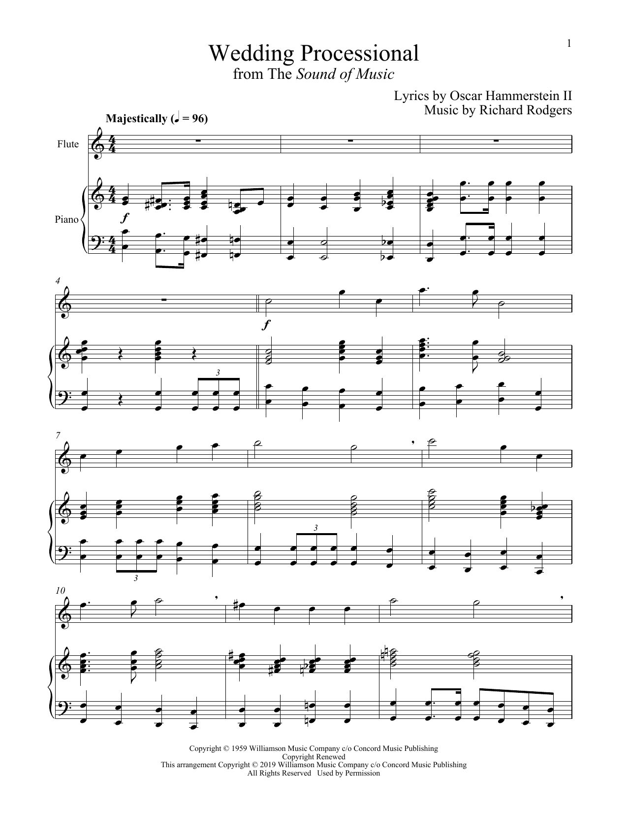 Rodgers & Hammerstein Wedding Processional sheet music notes and chords. Download Printable PDF.