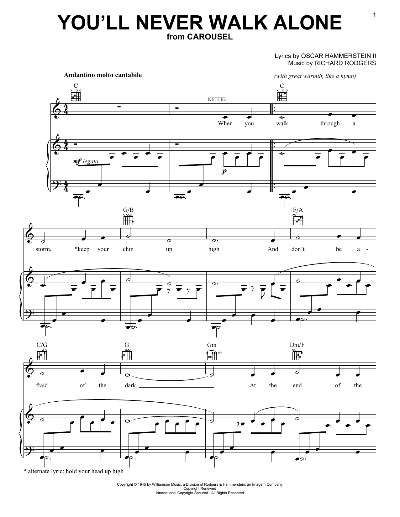 Rodgers & Hammerstein You'll Never Walk Alone sheet music notes and chords. Download Printable PDF.