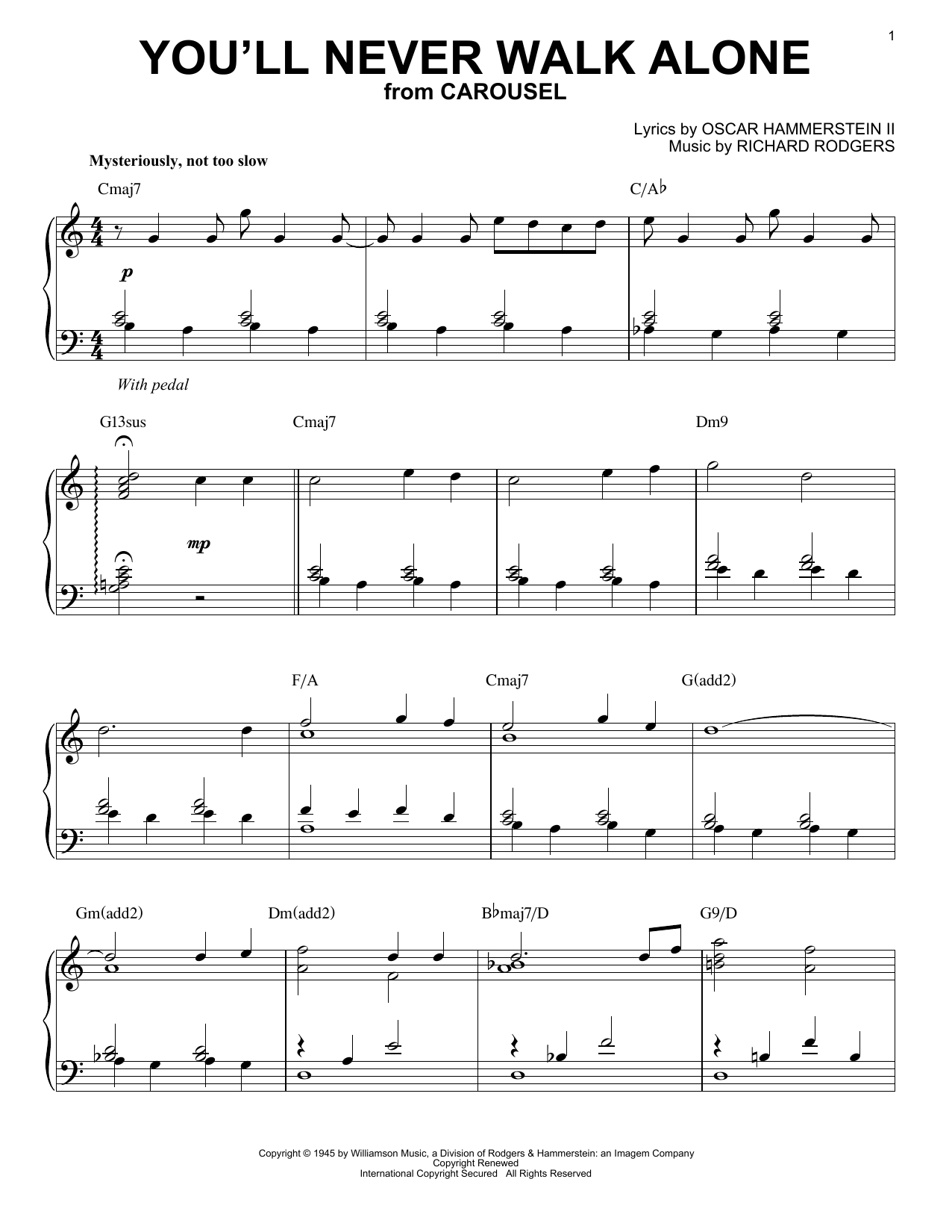 Rodgers & Hammerstein You'll Never Walk Alone sheet music notes and chords