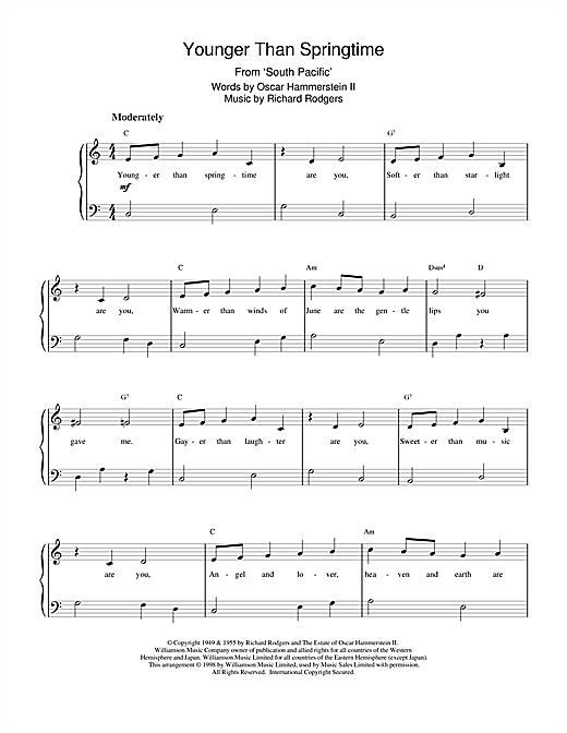 Rodgers & Hammerstein Younger Than Springtime (from South Pacific) sheet music notes and chords