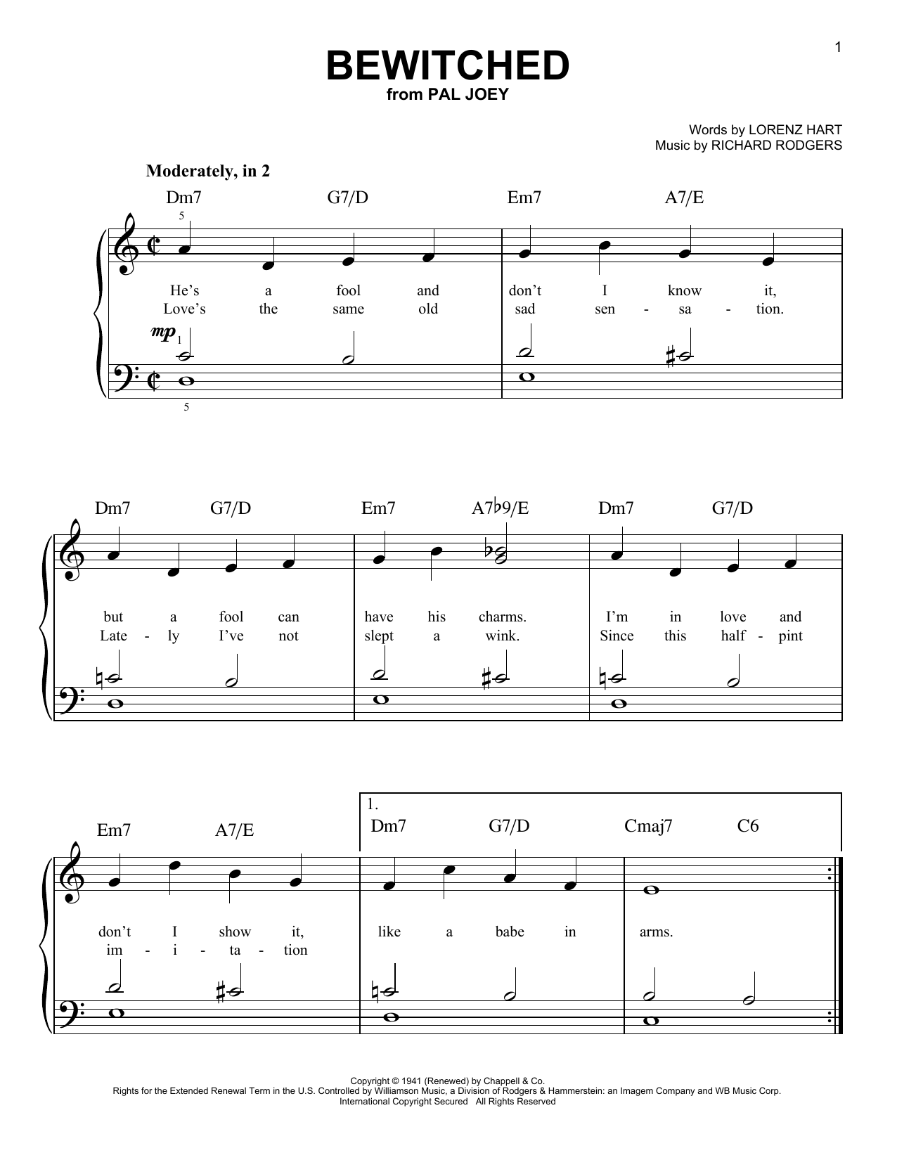 Rodgers & Hart Bewitched sheet music notes and chords. Download Printable PDF.