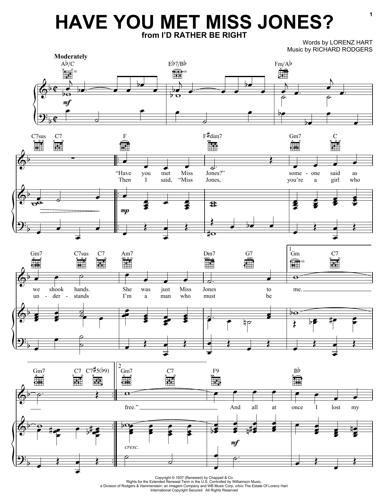 Rodgers & Hart Have You Met Miss Jones? sheet music notes and chords. Download Printable PDF.