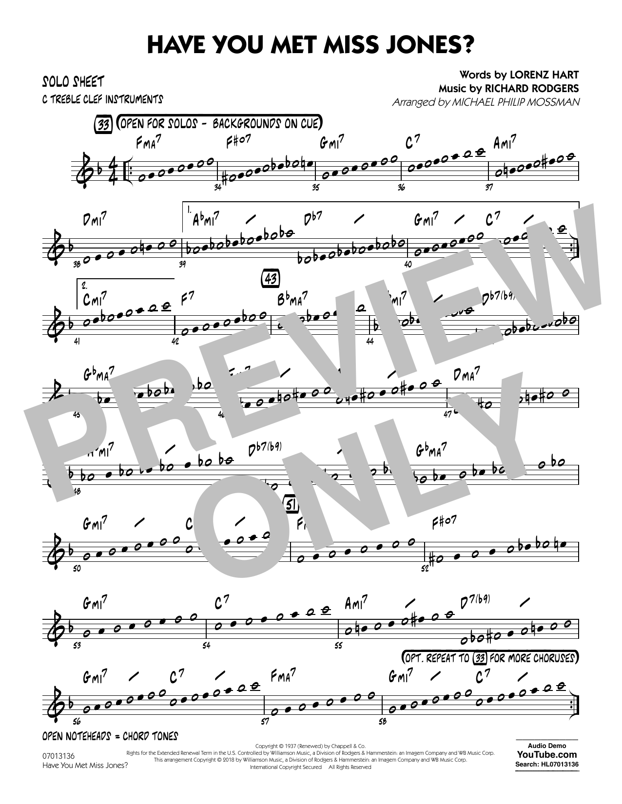 Rodgers & Hart Have You Met Miss Jones? (arr. Michael Mossman) - C Solo Sheet sheet music notes and chords. Download Printable PDF.