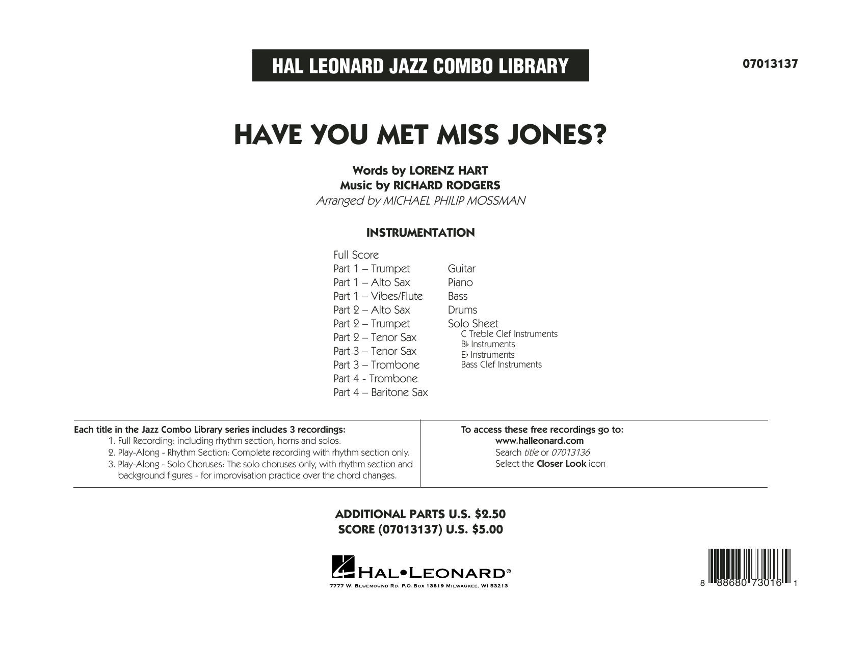 Rodgers & Hart Have You Met Miss Jones? (arr. Michael Mossman) - Conductor Score (Full Score) sheet music notes and chords. Download Printable PDF.
