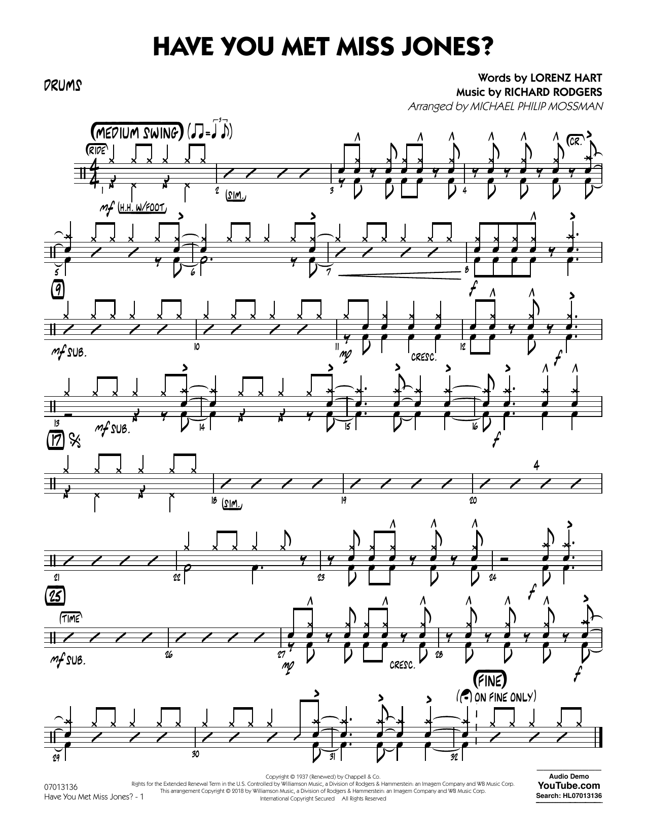 Rodgers & Hart Have You Met Miss Jones? (arr. Michael Mossman) - Drums sheet music notes and chords. Download Printable PDF.