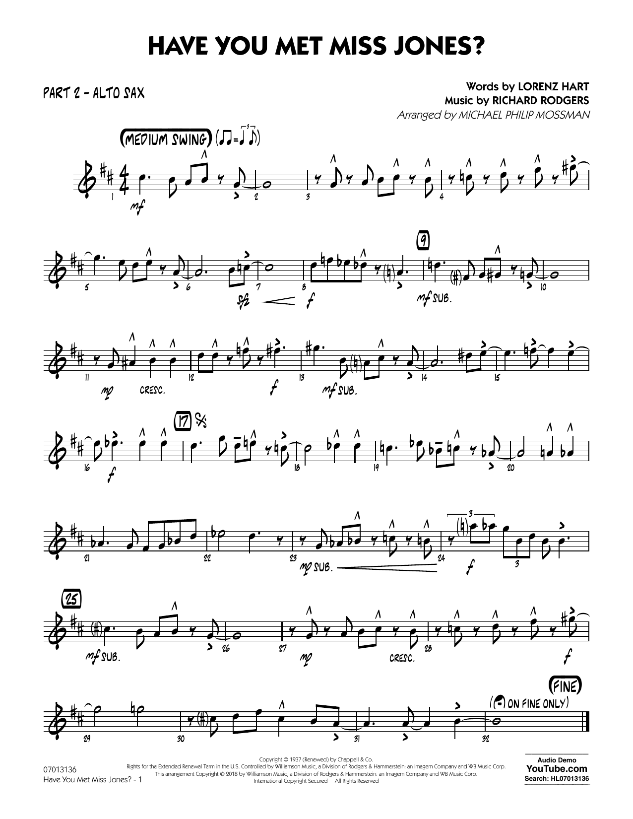 Rodgers & Hart Have You Met Miss Jones? (arr. Michael Mossman) - Part 2 - Alto Sax sheet music notes and chords. Download Printable PDF.